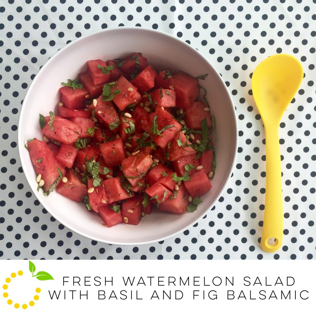 Fresh Watermelon Salad with Basil and Fig Balsamic sweetlemonmade.com
