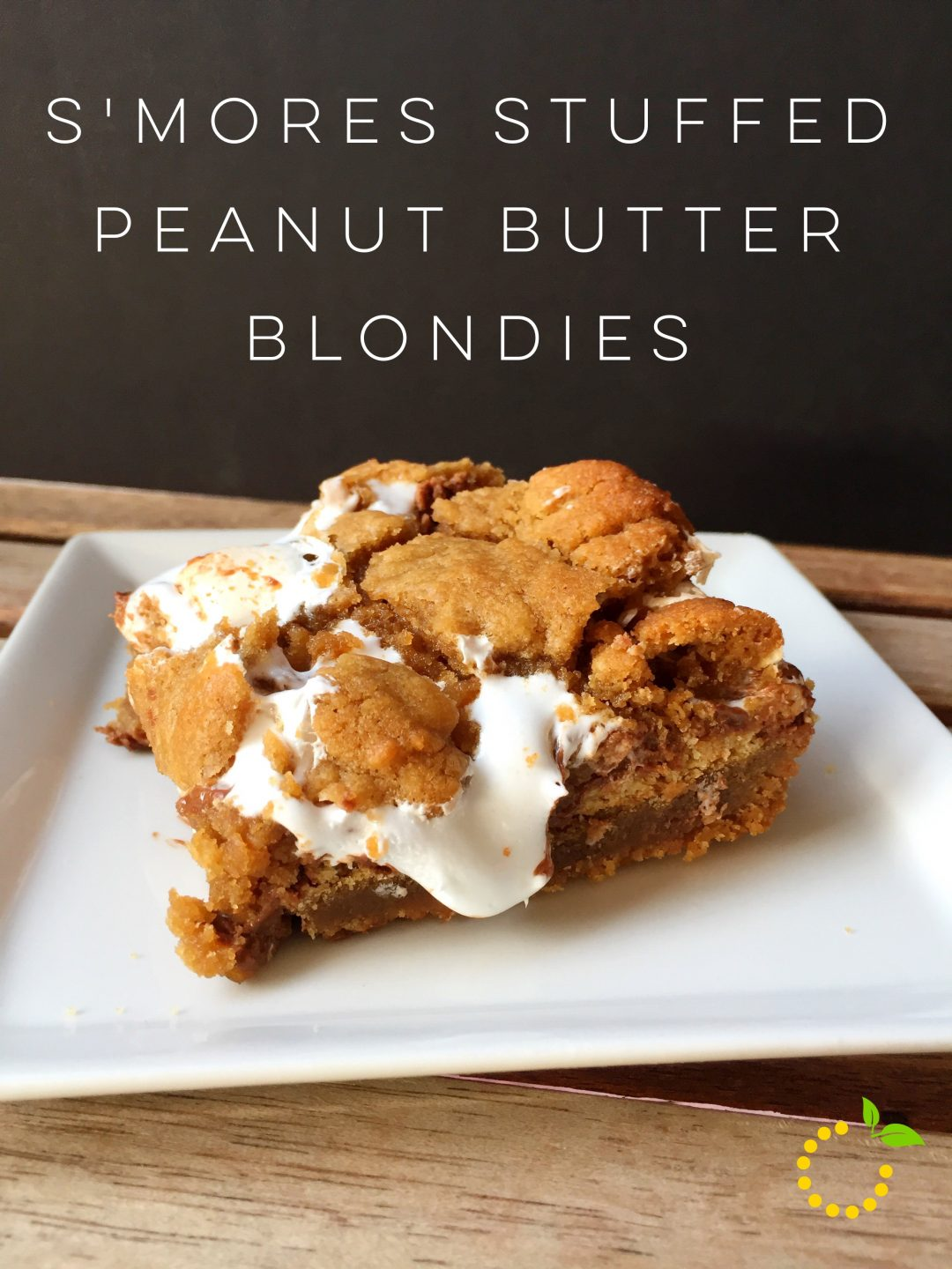 S'mores Stuffed Peanut Butter Blondie sweetlemonmade.com