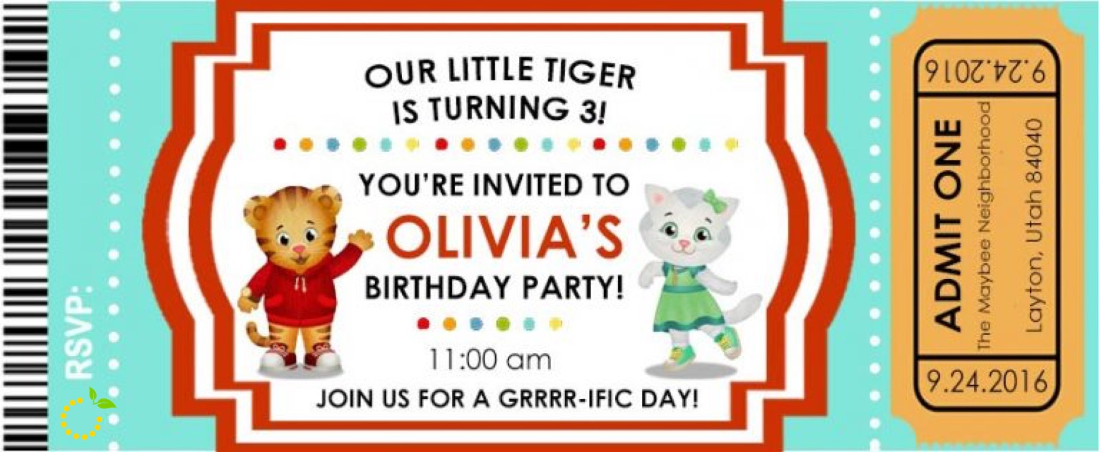 Daniel Tiger Invitation sweetlemonmade.com